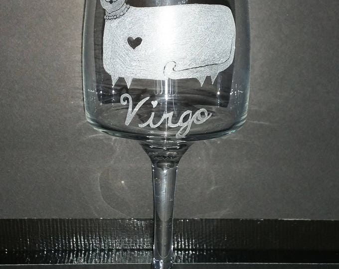 Virgo the Virgin from our Kitty Kat Zodiac series on a 11.75 oz Wine Glass