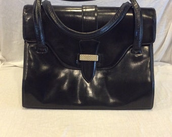 Vintage Lucille de Paris Black Leather Purse