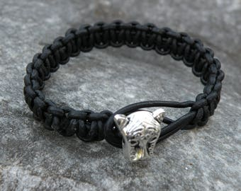genuine leather bracelet black, braided