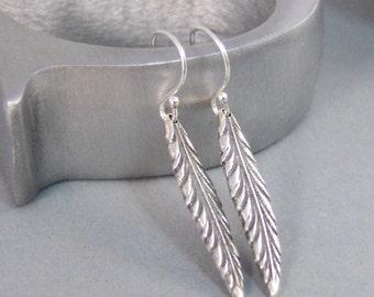 Feather Leaf,Earrings,Organic,Silver Earrings,Rustic,Silver Leaf Earrings,Nature,Leaf,Leaves,Sterling Silver Earrings.SeaMaidenJewelry