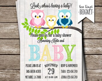 Guess Whoo's Having a Baby - Owl Themed Baby Shower Invitation - 5x7 Printable Invitation