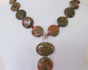 Unikite Silver Pendant Necklace