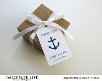Wedding Favor Tag - Anchor Wedding - Nautical Wedding - Navy Wedding - Wedding Favor Tags - Custom Tags - Personalized Tags - SMALL