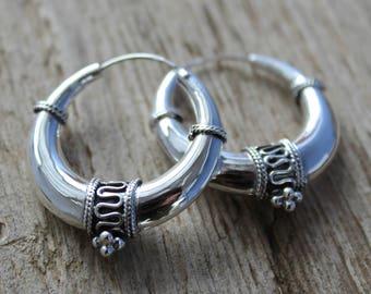 Sterling silver hoop earrings. 35mm Bali hoop earrings. Bali hoop earrings. Oxidiced sterling silver earrings. Tribal hoop earrings.