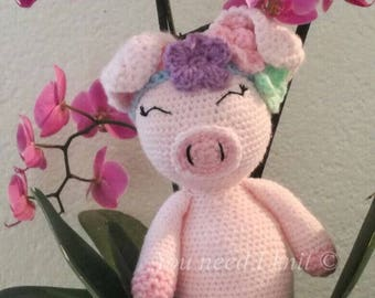 Crochet Piggy/ stuffed piggy / pig plush / pig flower crown / handmade toy/  crochet baby crib toy/