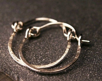 Sterling silver tiny hammered hoop earrings 1/2""