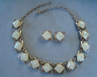 Vintage Signed CORO Opal Confetti Necklace and Earring Set