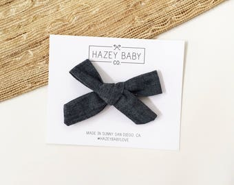 Schoolgirl bow, Headband or clip, Chambray, denim bow