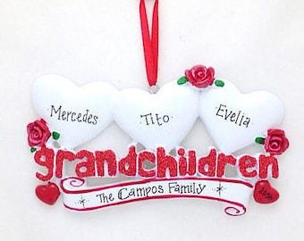 3 Grandchildren Personalized Christmas Ornament / Grandparents Ornament / Grandmother Ornament / Grandfather Ornament