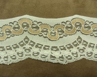 LACE of CALAIS - 6 cm - two-color taupe