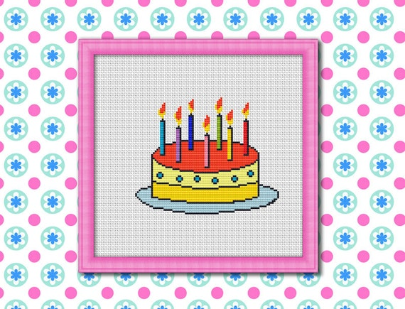Birthday Cake Counted Cross stitch Pattern PDF Cross