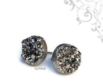 Dark Silver Glitter Stud Earrings - Gunmetal Gray Metallic Resin Druzy - Stainless Steel Posts