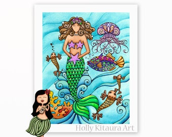 Mermaid and Friends, Painting Art Print Artwork Beach Decor Underwater Ocean Wall Hanging Colorful Fish Jellyfish Starfish Tropical