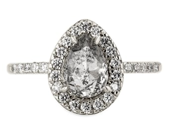 1.32 Carat Salt and Pepper Pear Rose Cut Engagement Ring, Fiona Setting 14k White Gold