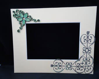 Custom Photo Mat with Quilled Flower and Filigree