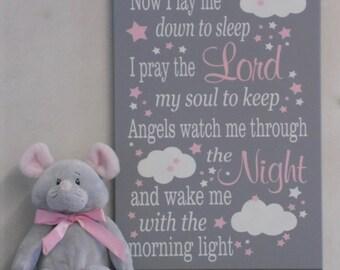 Now I Lay Me Down To Sleep | Christening Baptism Gift Boy or Girl |  Baby Room Decor | Pink Gray Child Prayer Sign | Childrens Prayer