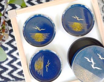 Vintage coasters, Jonathan Livingston Seagull, Japanese, sea gold, navy, gold, asian decor, wood, lacquer