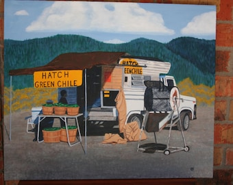 "Original painting ""Roasting Hatch Green Chile"" New Mexico art"