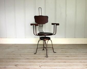Antique Late 1800's Copper Iron Twist Legs Oak Wood Adjustable Height Swivel Desk Chair Revell Chicago Machinist Victorian Ornate Steampunk