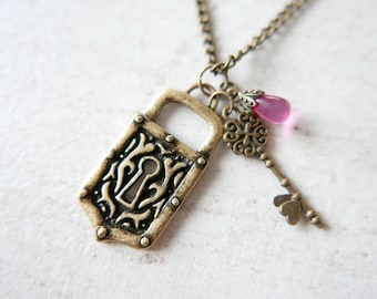 Lock and love key Necklace antique brass vintage style