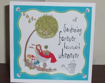 Female birthday card, gardening theme. funny female birthday card