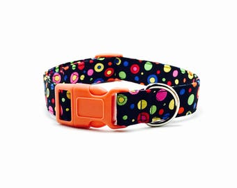 Polka Dot Dog Collar, Polka Dot Cat Collar, Bright Color Polka Dot Dog Collar, Kitten Polka Dot Collar, Collar with Bell, Colored Buckle