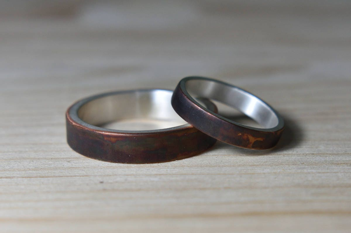 Wedding Bands His And Hers Antique Copper Wedding Bands Set Antique