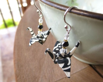 Black & White Origami Crane Earring, Black White Earring, Fun Earring, Bold Earring, Black White Jewelry, Origami Earring, Origami Jewelry