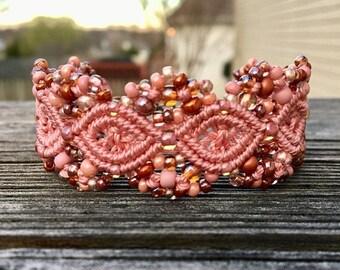 SALE Micro-Macrame Beaded Cuff Bracelet - Rose Pink Mix
