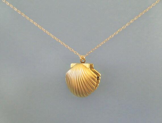 Mermaid Shell Locket Photo Gold Necklace Seashell