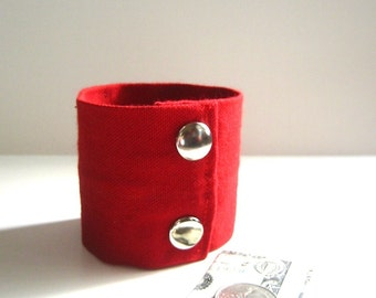 Secret Stash Money Cuff-  Red Denim -hide your cash, jewels, key, health info in a secret inside  zipper