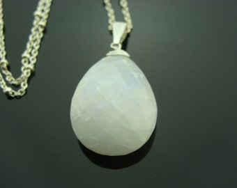 Large Faceted Rainbow Moonstone 925 Sterling Silver Pendant