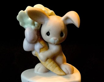 """Precious Moments """"To Some Bunny Special"""" 1982 SUSPENDED, Bunny Holding Large Carrot"""