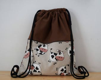Owls backpack,brown backpack,draw string backpack,cows bag,pockets bag,kawaii bag,string bag,strings backpack,cows backpack brown ,cow print