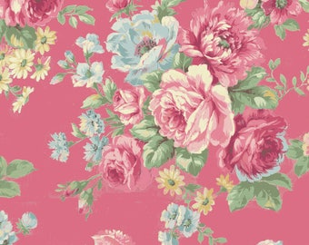 Shabby Chic Dark Pink Rose Cotton Fabric