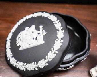 White on black Jasperware lidded compote
