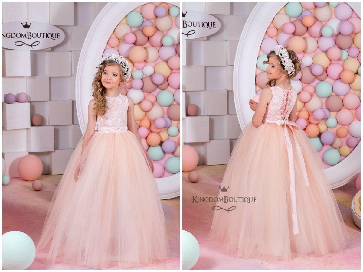 Blush flor chica vestido-Dama de honor boda vacaciones