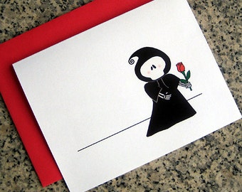 cute grim reaper death notecards / thank you notes / love notes / valentines (blank or custom inside) with red envelopes - set of 10