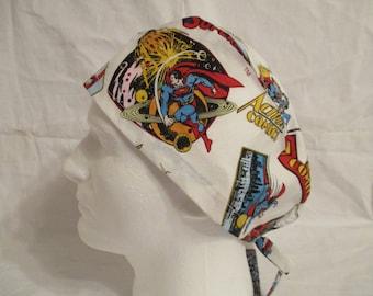 Men's Scrub hat with Vintage superman on White