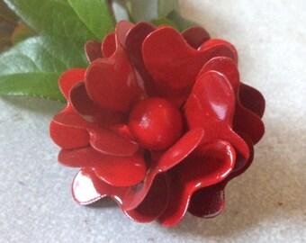 Red Enamel Flower Brooch Red Metal Flower Pin Rose Enamel Brooch Red Rose Brooch Solid Brass Retro Broach Pin Multiflora Rose