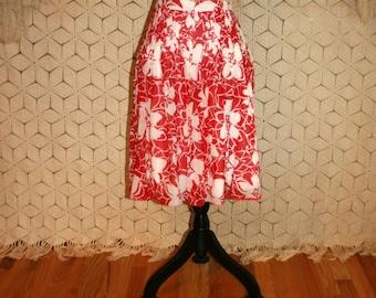 Cotton Skirt Women Large Summer Skirt Full Skirt Midi Red White Print Floral Skirt High Waist Pintuck Pleated Size 12 Skirt Womens Clothing
