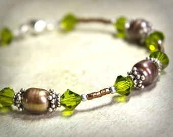 Brown Green Earthy Bracelet Pearl Swarovski Crystal Glass Mink Dark Peridot Sterling Silver