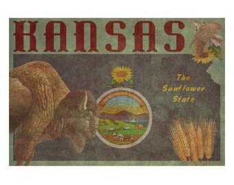 KANSAS 1FS- Handmade Leather Journal / Sketchbook - Travel Art