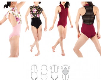 Jalie 3892 - JOËLLE Half-Zip Leotards  / 27 Sizes / Child & Adult