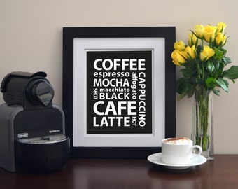 INSTANT DOWNLOAD Coffee Art Print 8x10 Black and White Home Kitchen Decor Wall Art