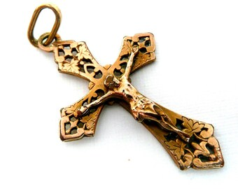Vintage French Crucifix, Vintage French Cross, Vintage Cross