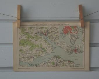 1894 Vintage Portsmouth & Southampton Map