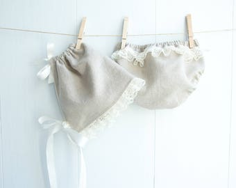 Natural Linen Bonnet Set-Baby Girl Bonnet Set-Lace Trim Bonnet and Bloomers-Diaper Cover-Neutral Bonnet Set