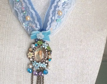 Women's Mucha Spring-Altered Couture  Victorian Shabby Chic Pendant Necklace Chocker Cabochon Glass Handcraft