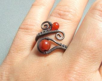 Carnelian rustic ring, red stone rustic look ring, birthstone carnelian jewelry, woman birthday gift